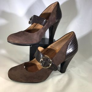 Sofft Mary Jane Heels Pumps shoe suede leather 7.5